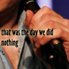 "heuradys: closeup of Tim O'Donovan's fingers holding a microphone, his shirt collar open. text ""that was the day we did nothing"" (nothing)"
