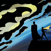 sansets: Bruce and Dick as Batman and Robin, staring at the clouds shapped like the Batsymbol. Art from Batgirl: Year One (Batman)