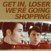"jlh: Kirk and McCoy in cadet reds with the banner ""get in loser, we're going shopping"" (KMc shopping)"