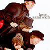 "jlh: The Beatles in a pile with the banner ""love sandwich"" (music: The Beatles)"
