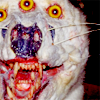 orm: the face of some kind of poorly constructed taxidermy animal with three eyes, three nostrils and multiple sets of teeth (HI: more than the usual quantity of eyes)