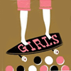 "exchangediary: an illustration of legs on a skateboard w/ the word ""girls"" written on the deck (Misc: Girls Skate)"
