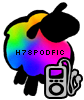 helens78: A rainbow sheep with an MP3 player at her hooves. Caption: h78podfic (me: podfic)