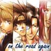 chomiji: The four main characters fro the manga Saiyuki, with the caption On the road again (saiyuki - road)