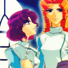 mikogalatea: Shiori and Juri from Revolutionary Girl Utena, both in fencing garb and smiling. Shiori is looking up at Juri. (Shiori/Juri)