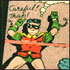 "cmshaw: Robin, chained to the wall, feels the need to write out ""Careful! Trap!"" in the dust as Batman rushes in (Me & the World's Greatest Detective)"