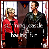 "cmshaw: Rose and the Doctor clasp hands and grin: the caption is ""storming castle & having fun"" (It'll take a miracle)"