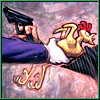 cmshaw: The Joker and Two-Face are in a stand-off: Two-Face holds a gun and the Joker holds a rubber chicken (What if he's got a chicken?)