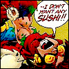 "cmshaw: Superboy has wrestled Impulse to the ground to force-feed him maki; Impulse cries out, ""--I don't want any sushi!!"" (Don't put it in your mouth)"