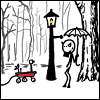 "spatz: Mr Tumnus and a probe at the lamp post, from <a href=""http://xk3d.xkcd.com/665/"">this XKCD comic</a> (winter lamppost)"