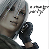 acrimonyastraea: Kadaj from Final Fantasy Advent Children on cell phone with text: A slumber party? (Kadaj slumber party)
