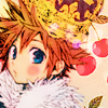 kitefullofkoi: picture of Sora from Kingdom Hearts with an oversized crown and cherries in the background (kh: cute sora)