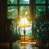 kitefullofkoi: picture of a lit lamp on a library table (lamp)