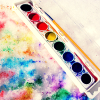 kitefullofkoi: picture of a used watercolour palette (art)