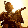 kitefullofkoi: picture of a bounty hunter from Star Wars with upraised gun (sw: gun)