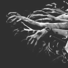 kitefullofkoi: grayscale image of bruised hands reaching out from the right (horror)