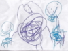 piglet: purple & blue crayon on white paper, drawing of all 3 of us (us)