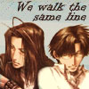 chomiji: Gojyo and Hakkai from Saiyuki, with the caption We Walk the Same Line (gojyo+hakkai - same line)