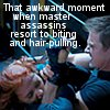 jamie: red headed woman biting the wrist of a man holding a knife, scarlet johansen and jeremy renner in Avengers (*masterassassins)