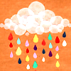 ninetydegrees: Collage: colorful rain falling from a cloud (rain)