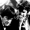 shinyjenni: The Second Doctor at the TARDIS console, Jamie biting his knuckles as he looks over the Doctor's shoulder (two jamie ohnoes)