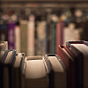 juushika: Photograph of a row of books on a library shelf. (Books Once More)