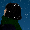 celestialdescent: Cartoon image: A girl facing left with her eyes closed. Snow is falling around her and in the background. (seasonal)