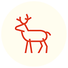nightdog_barks: Red stick drawing of a reindeer against a white background (Reindeer)