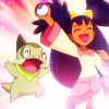 flamingstumpy: Iris holding up her pokeball up in the air like she just don't care. (pkmon º suck it)
