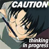 chomiji: Shigure from Fruits Basket, holding a pencil between his nose and upper lip; caption CAUTION - Thinking in Progress (shigure-thinking)