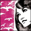 birdhead: watercolour image of white birds on pink background and a woman's face sketched in black (Default)