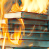 birdhead: stack of books being burned.  (my precious, bad design. it burrrns)