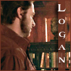 highlander_ii: Wolverine in a red shirt staring at a bookshelf, text 'Logan' ([Logan] red shirt)