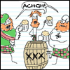 misskat: three guys in kilts around a xxx bin saying ACHGCH! (Achgch!)