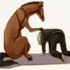 dotsandlines: Lawrence being consoled by his horse. (Spice and Wolf: There there.)