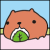 owlectomy: A cartoon capybara munching on a rice ball (capybara)