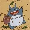 chomiji: Miyazaki's Totoro, joyfully gathering falling acorns (Totoro - acorns)
