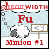 "fu: Dreamsheep with my name ""Fu"" and title ""Minion #1"" . To the right is a sign with an ASCII heart (official title)"