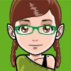 ext_451962: Generated avatar of a smiling white girl with brown braids and green glasses (green, mangatar, shi)