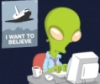 "becomingkate: alien at a computer with a poster of an airplane that says ""I want to believe"" behind him. Like Mulder from X Files (alien)"