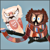 stealth_noodle: The 3rd and 4th Doctors as owls. (doctor hoo)