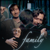 scrollgirl: harry hugging sirius with remus looking on; text: family (hp remus/sirius & harry)