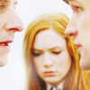 newbie1990: close up of the doctor, rory and amy. amy is in the centre (looking down, confused) while eleven and rory are in profile (Default)