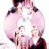 newbie1990: amy (background, just visible), the doctor (looking up), river, upside down and right way round imposed on a pink record (dw. the missus & the girl you love.)