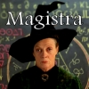 """kouredios: McGonagall, before a blackboard full of runes with the word """"Magistra"""" set over her hat. (Magistra)"""