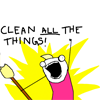 highlyeccentric: Hyperbole and a half - that infamous Adulhood comic - character screaming CLEAN ALL THE THINGS (Clean ALL THE THINGS)