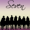 randi2204: Seven together riding off into the sunrise (GotC) (mag7 - silhouette seven purple and gold)