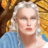halialkers: Elf maiden with blond hair, blue robes, blue eyes (Rezaea H'vat Kanari)