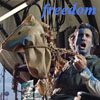 """everysecondtuesday: Murdock during the Braveheart speech scene. Half his face is painted blue, and he rides a stick horse. Text is """"freedom"""" (a-team: freedom)"""