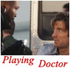 everysecondtuesday: B.A.'s wearing a stethoscope and being all touchy feely with Murdock in the back of an ambulance. Text is playing doctor (a-team: playing doctor)